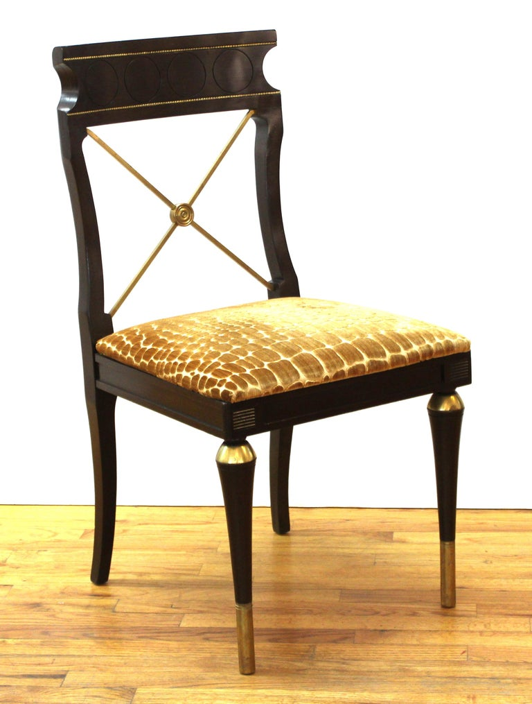Upholstery Russian Neoclassical Revival Style Dining Chairs For Sale
