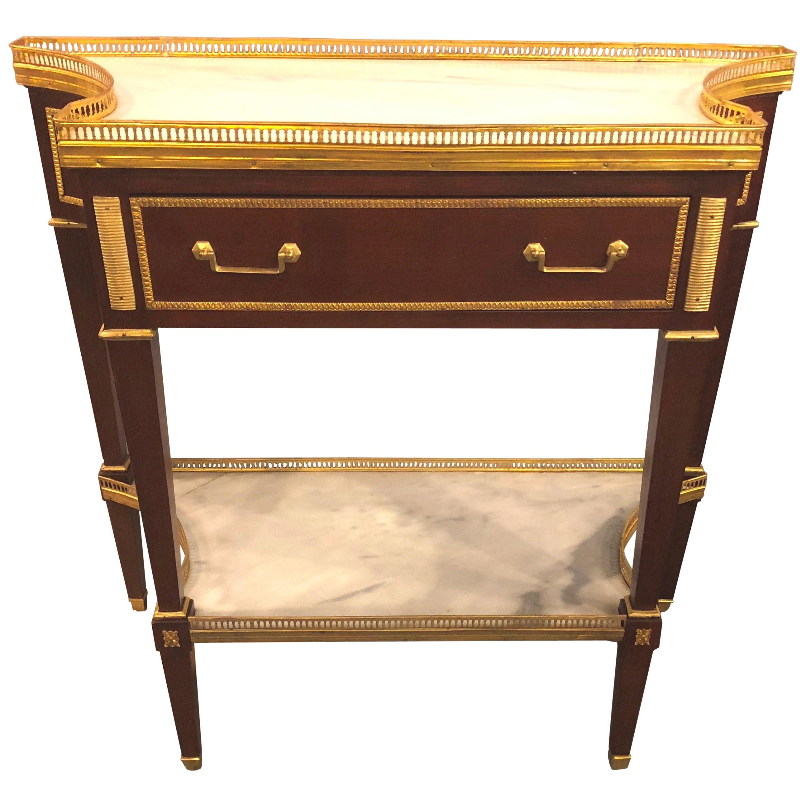 Russian Neoclassical Style Console/Server or Commode with Marble Top