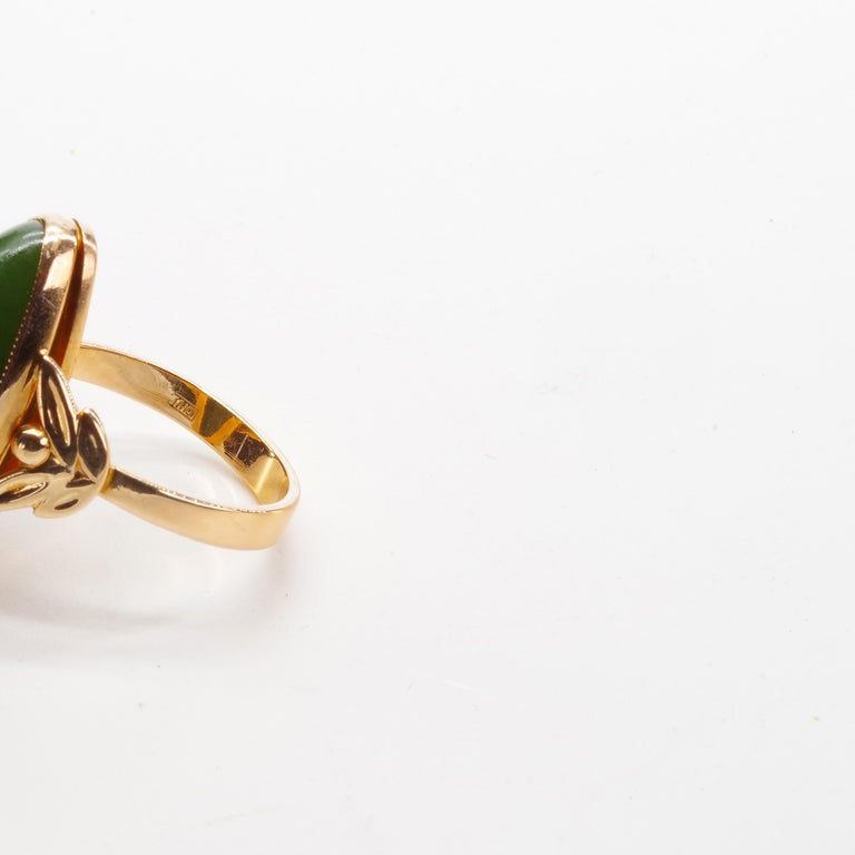 Russian Nephrite Ring in Rose Gold In Excellent Condition For Sale In Southbury, CT