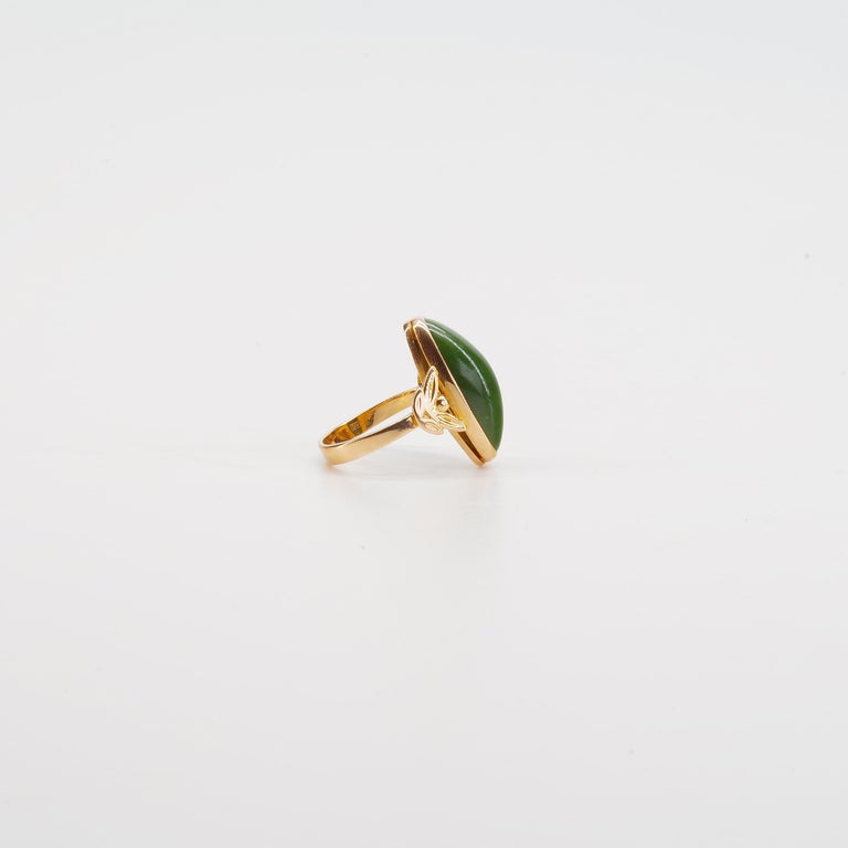 Women's Russian Nephrite Ring in Rose Gold For Sale