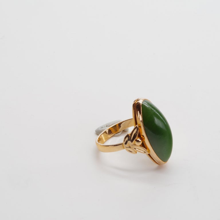 Russian Nephrite Ring in Rose Gold For Sale 1