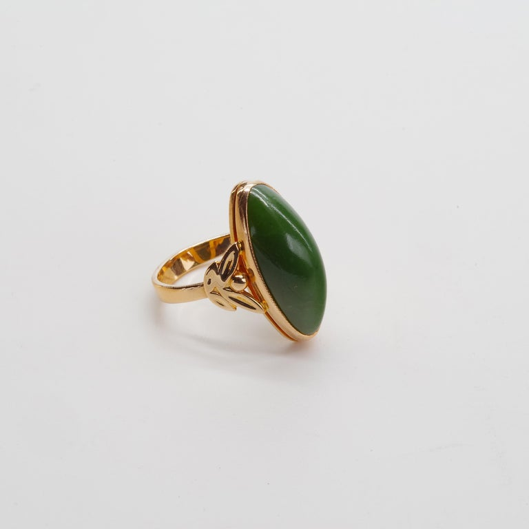 Russian Nephrite Ring in Rose Gold For Sale 2