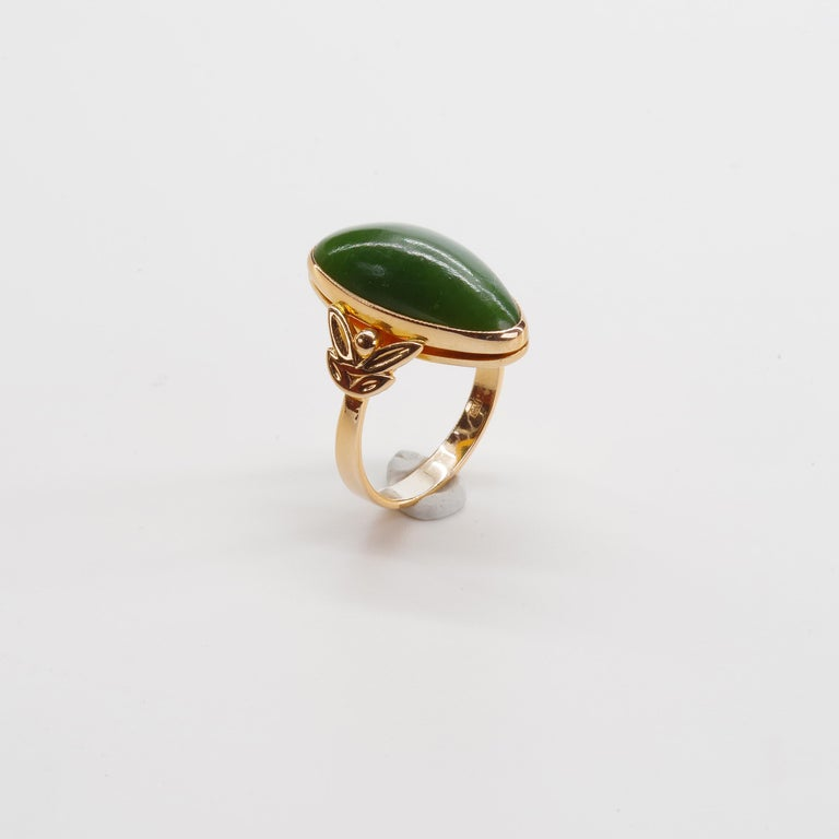 Russian Nephrite Ring in Rose Gold For Sale 3
