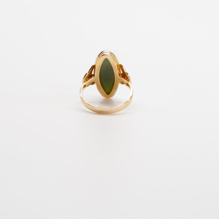 Russian Nephrite Ring in Rose Gold For Sale 4