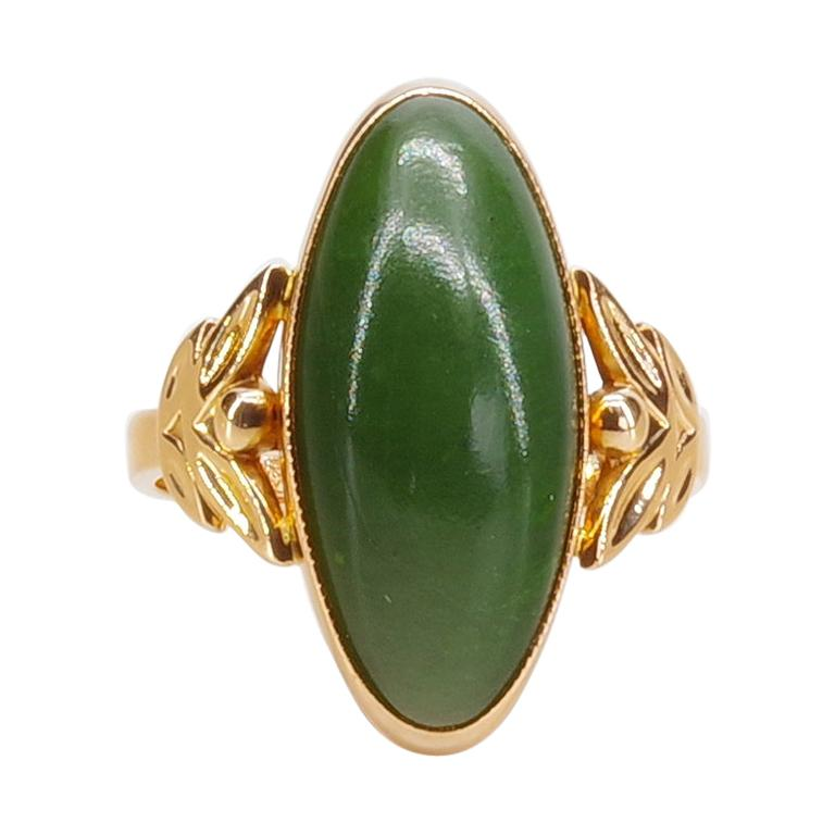 Russian Nephrite Ring in Rose Gold For Sale