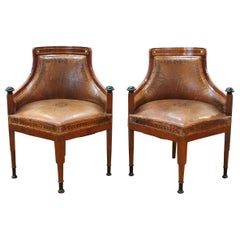 Russian or Baltic Empire Desk or Corner Chairs With Stenciled Leather Seats