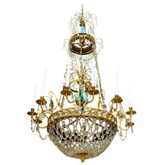 Russian or Swedish Empire  Crystal, Turquoise Glass and  Gilt Bronze Chandelier