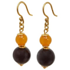 Russian Orange Baltic Amber Bead Dangling Earrings in Gold, Early to Mid 1900s