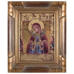 Russian Orthodox Icon Our Lady of Sorrows Gilt Print on Leander Porcelain
