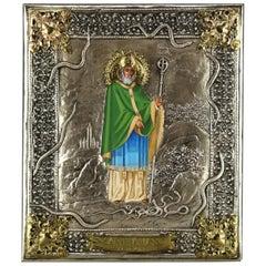 Russian Orthodox Icon, Saint Patrick of Ireland with Mixed Metal Riza