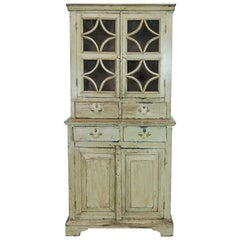 Russian Painted Step Back Cupboard