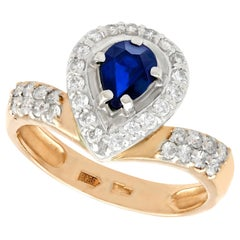 Russian Pear Cut Sapphire and Diamond Yellow Gold Cocktail Ring