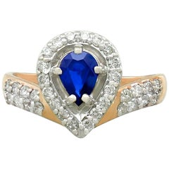 Russian Pear Cut Sapphire and Diamond Yellow Gold Dress Ring