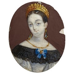 Russian Princess with Tiara and Elaborate Jewelry Portrait Miniature