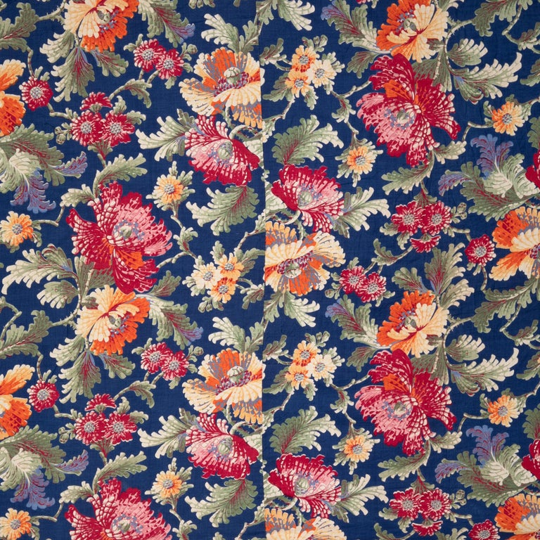 Mid-Century Modern Russian Printed Cotton Fabric Panel, Mid-20th Century or Earlier For Sale