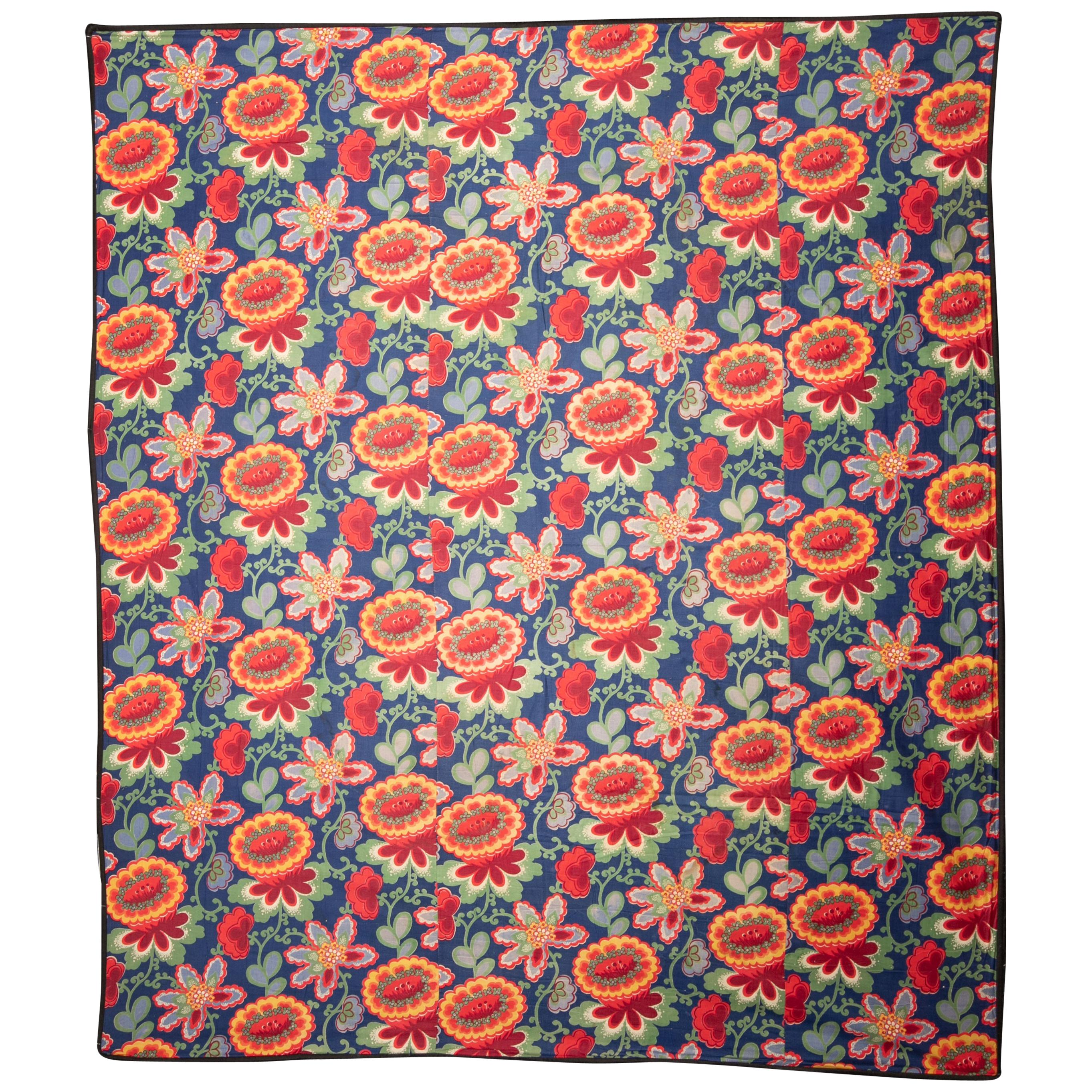 Russian Printed Cotton Fabric Panel, Mid-20th Century or Earlier