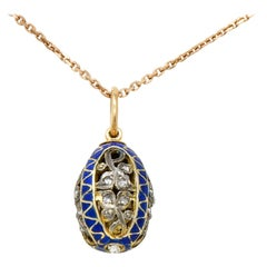 Russian Rose Cut Diamond Sterling Silver 14 Karat Gold Egg Pendant Necklace