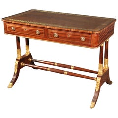 Russian Rosewood and Faux Rosewood Empire Writing Desk Boulle Inlay