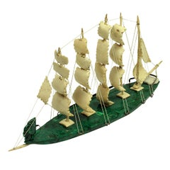 Russian Sailing Ship in Malachite