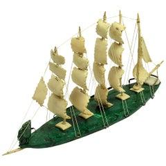 Russian Sailing Ship in Malachite