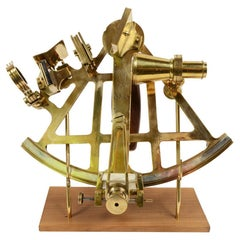 Russian Brass Antique Nautical Sextant Made  Early 1900s with Wooden Support