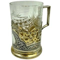 Russian Silver and Niello Tea Glass Holder