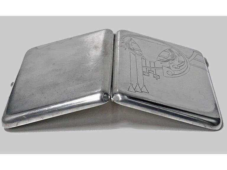 Russian Silver cigarette case, 1908-1926, Feodosii Ivanovich Pekin, Moscow Kokoshnik mark. The box cover with stylised deco foliate design, interior of both cover and base maker's mark for Feodosii Ivanovich Pekin ... F and P in Cyrillic, Moscow 84