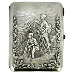 Russian Silver Cigarette Case with Sapphire Opening Button