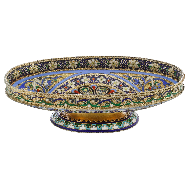 Russian Silver Cloisonné Enamel Dish, 1890s by Ovchinnikov