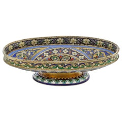 Russian Silver Cloisonné Enamel Dish, 1890s by Ovchinnikov