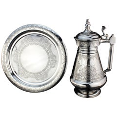 Russian Silver Ewer and Tray, Marked St. Petersburg, 1880-1887