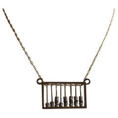 Russian Silver Gilt Abacus Pendant, circa 1890