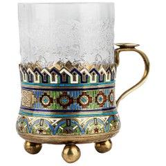 Russian Silver-Gilt and Enamel Tea Glass Holder Andrey Bragin, circa 1900