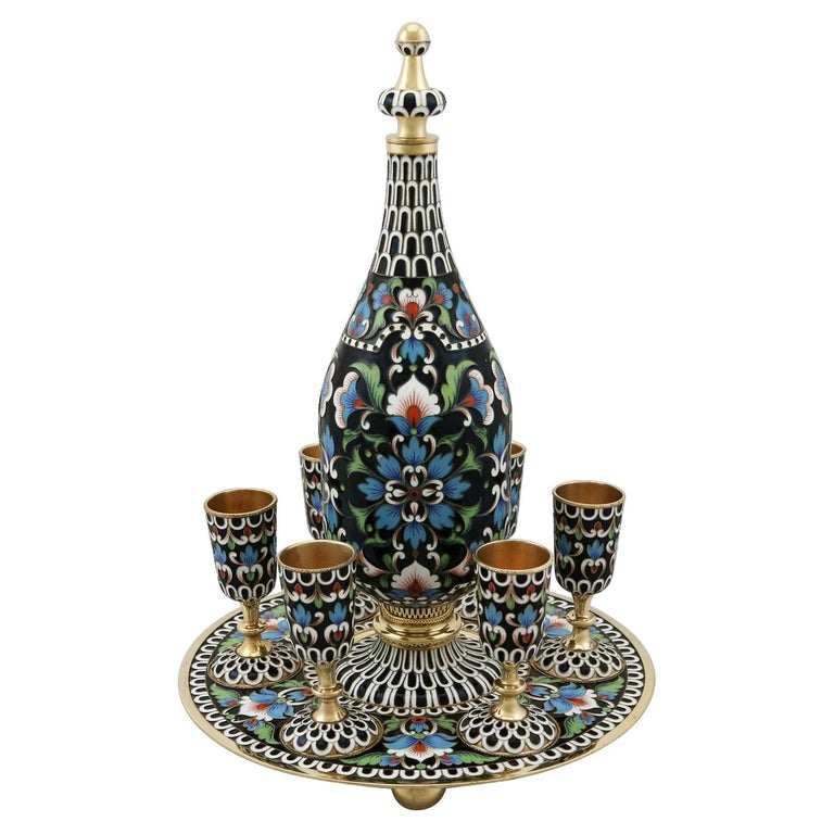 Russian Silver Gilt and Enamel Vodka Decanter and Goblet Set