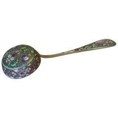 Russian Silver-Gilt & Cloissone Enamel Sifter Spoon 11th Artel Moscow, 1908-1917