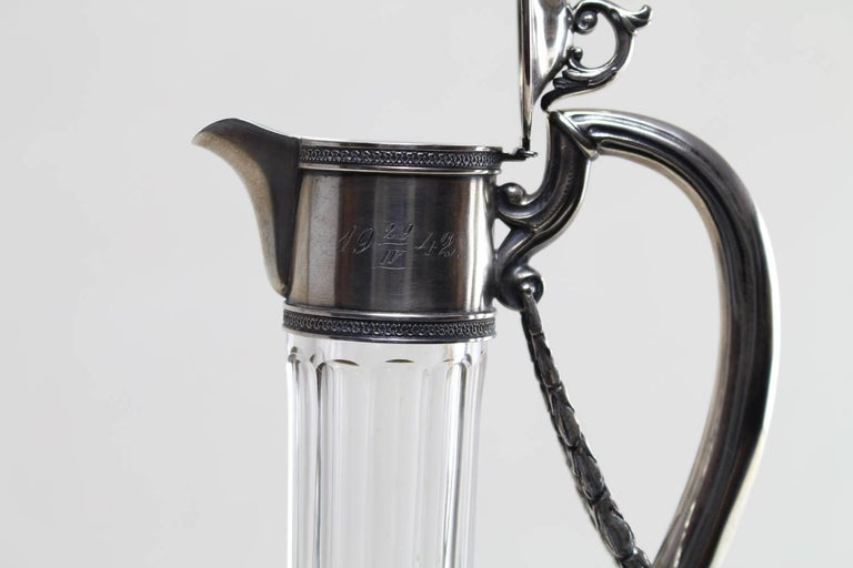 European Russian Silver Mounted Claret Jug with Cut Glass, circa 1900 For Sale