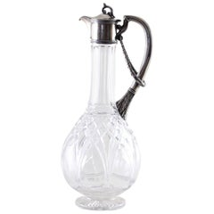 Russian Silver Mounted Claret Jug with Cut Glass, circa 1900