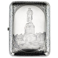 Russian Silver & Niello Pushkin Cigarette Case, circa 1893