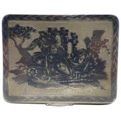 Russian Silver Niello Tobacco Box, Moscow, circa 1820-1830
