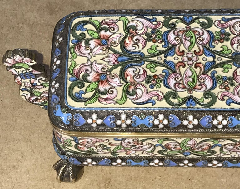 Russian Silver Pavel Ovchinnikov & Ivan Khlednikov Gilt Cloisonné Enamel Casket In Good Condition For Sale In London, GB