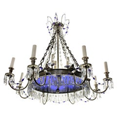 Russian Silver Plated and Blue Glass Chandelier