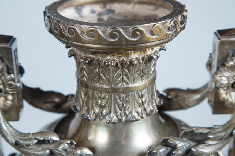 Neoclassical Probably Russian Silver Plated Bronze Urn For Sale