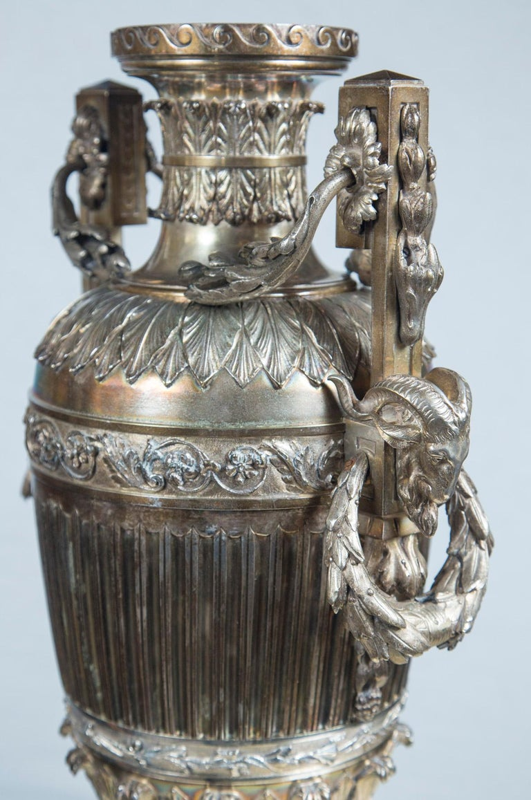 Late 18th Century Probably Russian Silver Plated Bronze Urn For Sale