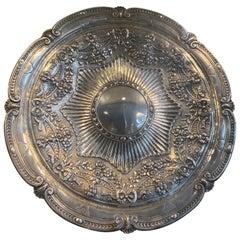 Russian Silver Repoussé Dish Hallmark Mitau, 17th Century
