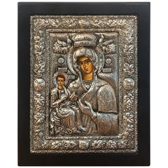 Russian Silver Riza Icon of Madonna and Child