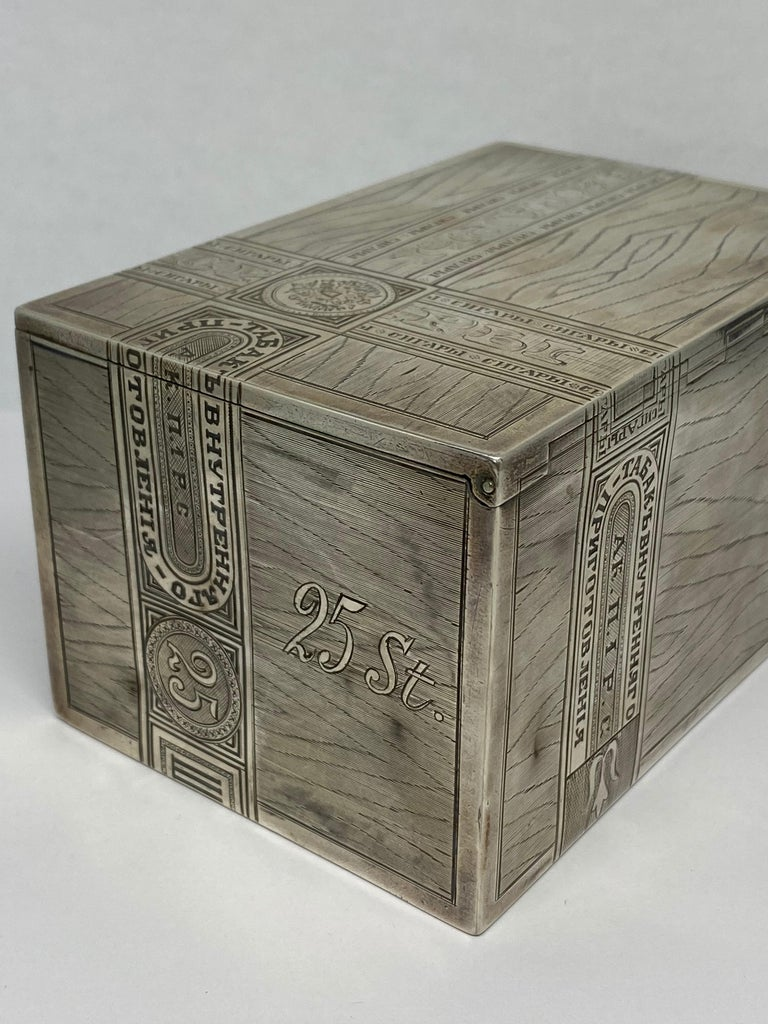 Russian Sterling Silver Tabaco Box  For Sale 5