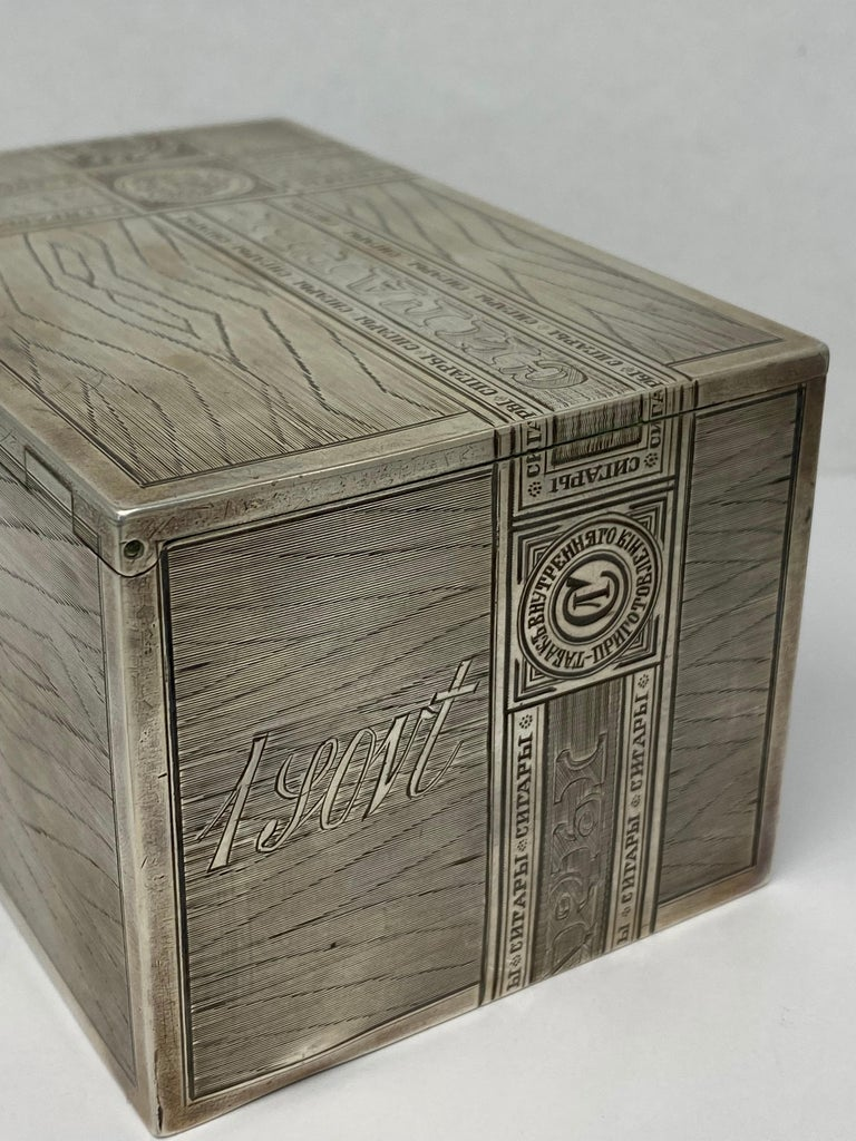 Russian Sterling Silver Tabaco Box  For Sale 6