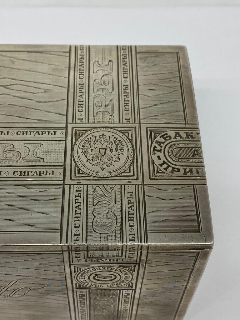 Russian Sterling Silver Tabaco Box  For Sale 4