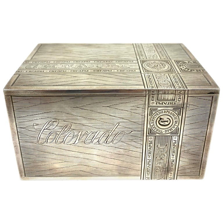 Russian Sterling Silver Tabaco Box  For Sale