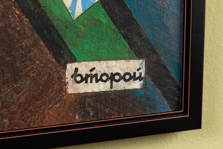 20th Century Russian Suprematist Style Gouache and Paper on Board For Sale